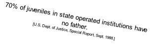 70% of juveniles in state operated institutions have no father. 